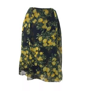 Escada Silk Lemon Print Midi Skirt